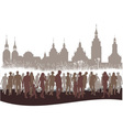 Group of people before city vector image