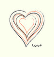 i love you greeting card poster with heart vector image