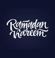 Ramadan kareem - hand drawn brush lettering vector image