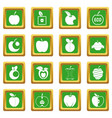 apple icons set green vector image