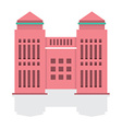 Flat Design Single Building With Reflect vector image