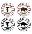 fresh meat vintage labels set vector image