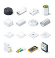 Home electric isometric icon set vector image