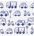 hand drawn doodle cartoon cars seamless pattern vector image