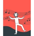 Man listening to music and dancing vector image