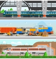 Rail Transport Horizontal Flat Banners vector image