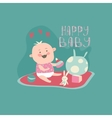Happy toddler with baby toys vector image