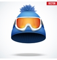 Knitted woolen red cap with snow goggles vector image