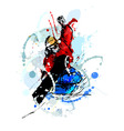 Colored hand sketch snowboarders vector image