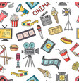 cinema collection set seamless pattern of vector image