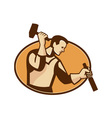 carpenter sculptor with hammer chisel retro vector image vector image