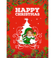 Christmas card with elf vector image vector image