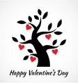 Valentines day vintage tree with hearts icon vector image