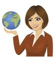 brunette businesswoman holding the globe vector image
