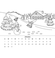 Calendar with coloring book vector image