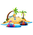 island scene with children riding boats vector image