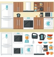 Kitchen room interior with kitchen furniture vector image