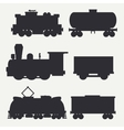 modern and vintage trains silhouettes set vector image