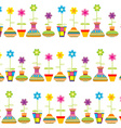 Rows of flower pots seamless background vector image vector image