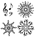 abstract music flowers set vector image