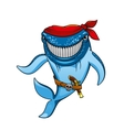 Cartoon blue whale pirate in bandanna and gun vector image