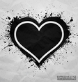 Creased old paper with handmade heart background vector image
