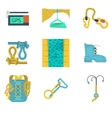Flat icons collection of mountaineering vector image