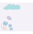 floral card with cloud vector image