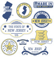 New Jersey Set of generic stamps and signs vector image