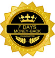 seven days money back icon vector image