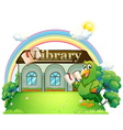 A green parrot reading outside the library vector image vector image