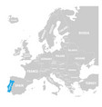 Portugal marked by blue in grey political map of vector image