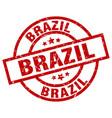 Brazil red round grunge stamp vector image