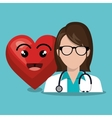 character doctor femalewith sthetoscope and heart vector image