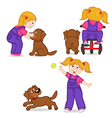 girl playing with dog vector image