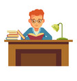 student boy reading book in library sitting at vector image