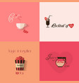 Valentines day greeting card design with set of vector image