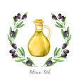 Watercolor with green olive branch and olive oil vector image