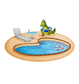 A swimming pool with a crocodile inside a buoy vector image