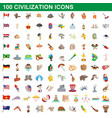 100 civilization icons set cartoon style vector image