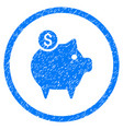 Piggy bank rounded grainy icon vector image