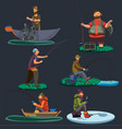 fisherman catches fish sitting on boat and off vector image
