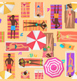 beach seamless pattern top view summer people on vector image