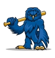 Cartoon blue owl baseball player with bat vector image vector image