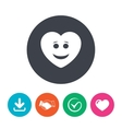 Smile heart face icon Smiley symbol vector image