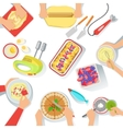 People Cooking Sweet Pastry Together View From vector image