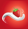 milk splash tongue with fresh strawberry vector image vector image