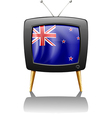 The flag of New Zealand inside the television vector image