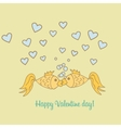 Postcard Valentine Day goldfish vector image