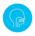 Human head with ear nose throat system line icon vector image